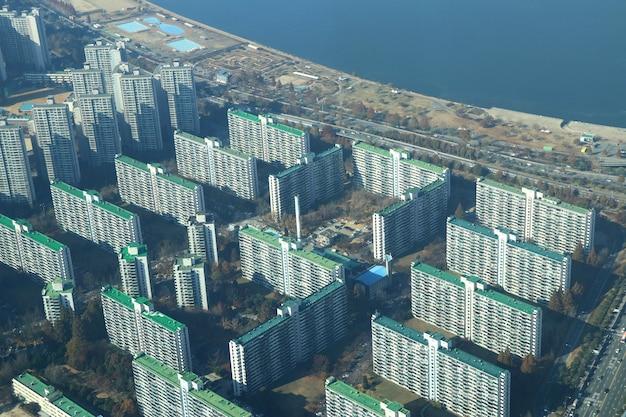 Blureed top view paisagem coreia do sul