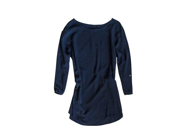 Blusa azul com mangas na superfície branca