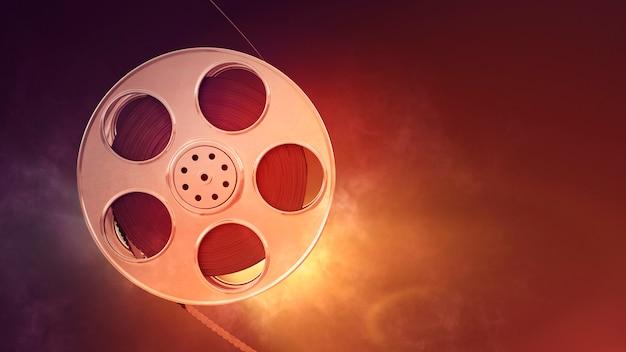 Bobina de filme retrô com luz ardente