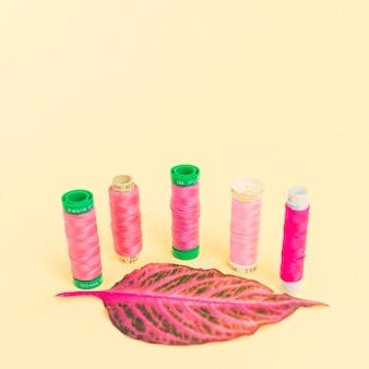 Bobinas de fio rosa com uma folha