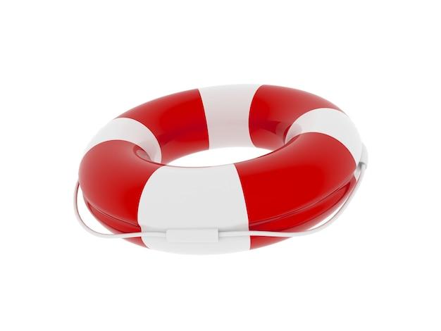 Boia salva-vidas de cor vermelha e branca isolada no fundo branco