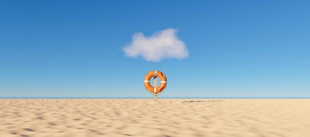Boia salva-vidas sozinha em uma praia com o mar ao fundo e uma pequena nuvem acima