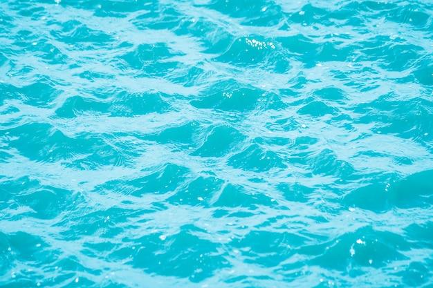 Bokeh abstrata da luz no fundo da onda de água azul