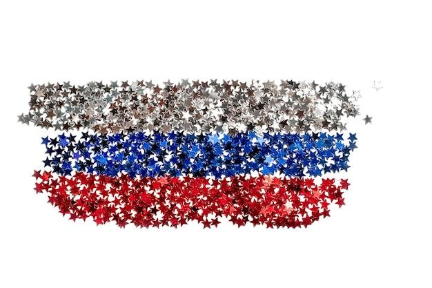Bokeh abstrato festivo de superfície com luzes vermelhas em forma de estrela em forma de bandeira da rússia