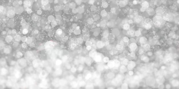 Bokeh branco flutuante fundo preto poeira estelar branca ilustração 3d