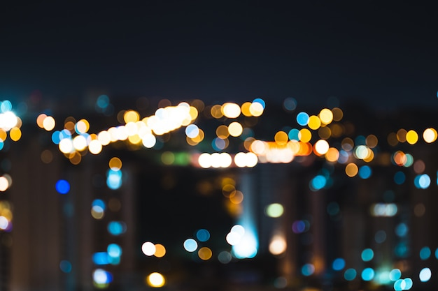 Bokeh colorido luzes da cidade