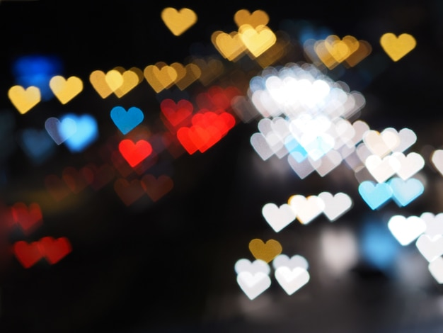 Bokeh de coração para plano de fundo dia dos namorados