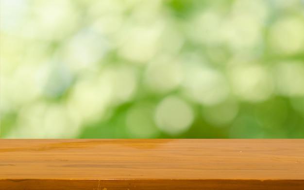 Bokeh de mesa de madeira