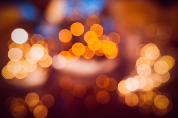 Bokeh desfocado luzes, luzes festivas e clima de natal