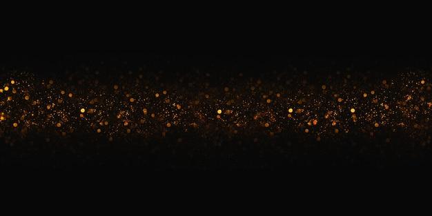 Bokeh dourado e brilho bokeh ilustração 3d de fundo preto