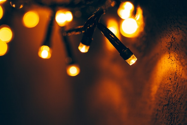 Bokeh luz de festão de férias fechar