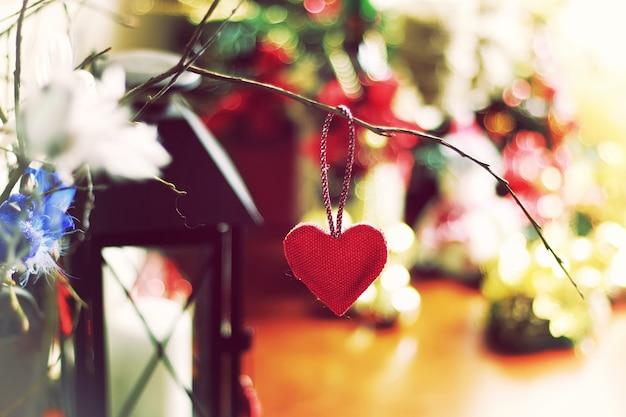 Bokeh retrô com formato de coração