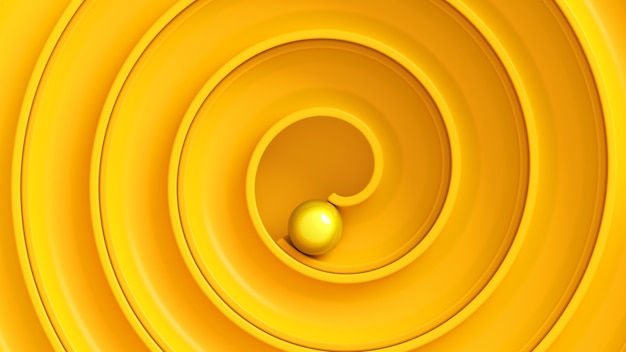 Bola amarela rola pelo labirinto em espiral visto de cima