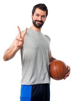 Bola bem sucedida sim gesto de basquete