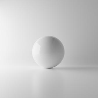 Bola branca abstrata da esfera da reflexão no fundo branco com iluminação e sombra. conceito de maquete realista. objeto de geometria única. renderização de ilustração 3d