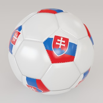 Bola branca socker com bandeira da eslováquia em fundo branco