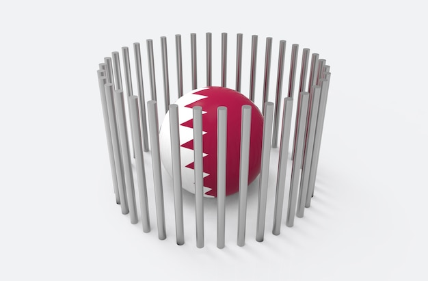 Bola de bandeira do país de qatar surround por tubos de aço. conceito de crise diplomática de qatar.