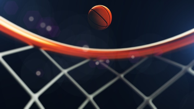 Bola de basquete caindo em uma cesta