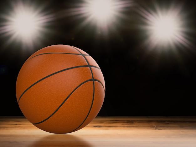 Bola de basquete com renderização 3d em piso de madeira com luzes brilhantes