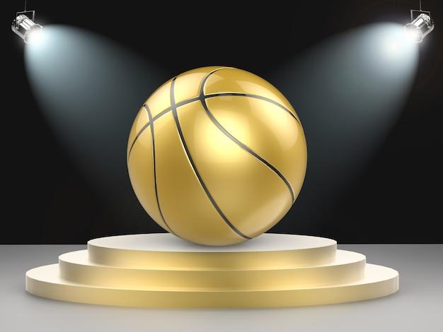 Bola de basquete dourada com renderização em 3d com holofotes brilhantes