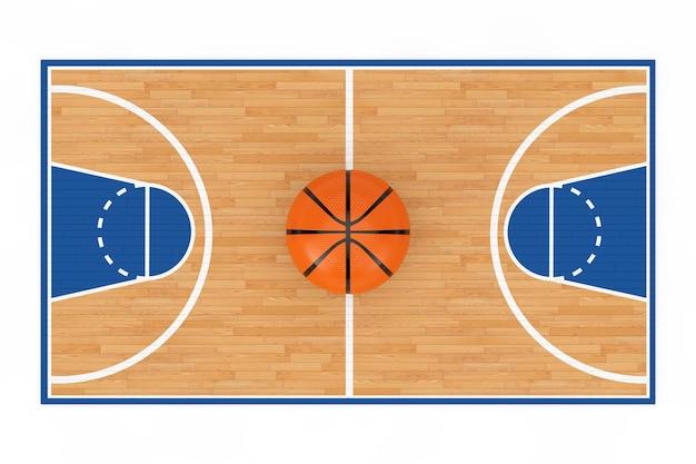 Bola de basquete laranja no centro do piso da quadra de basquete de madeira com linhas em um fundo branco. renderização 3d