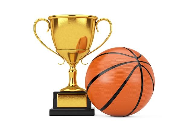 Bola de basquete perto da copa do troféu de prêmio de ouro em um fundo branco. renderização 3d