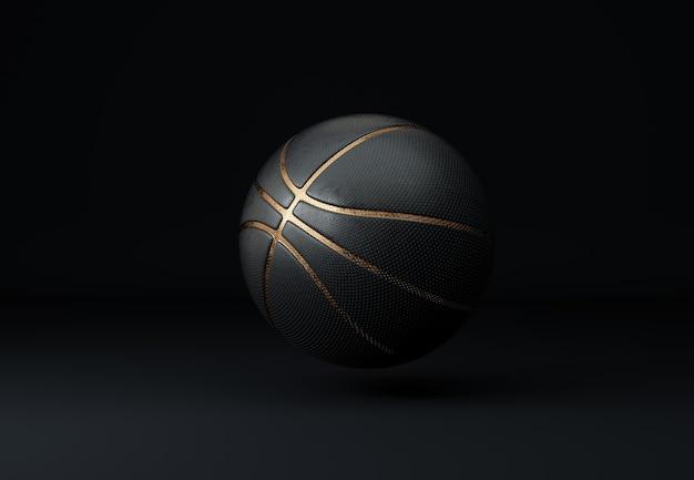 Bola de basquete preta com linhas douradas