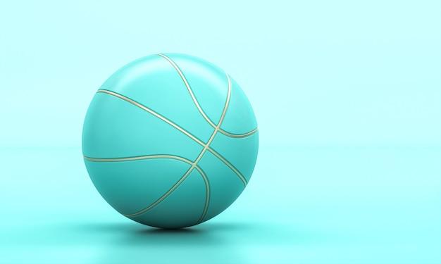 Bola de basquete turquesa com detalhes em ouro. renderização 3d. conceito de esporte