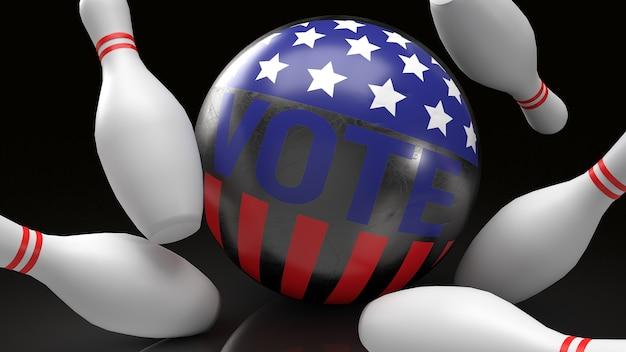 Bola de boliche com voto de texto e bandeira americana acertando renderização em 3d