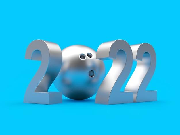 Bola de boliche de prata com número de ano novo
