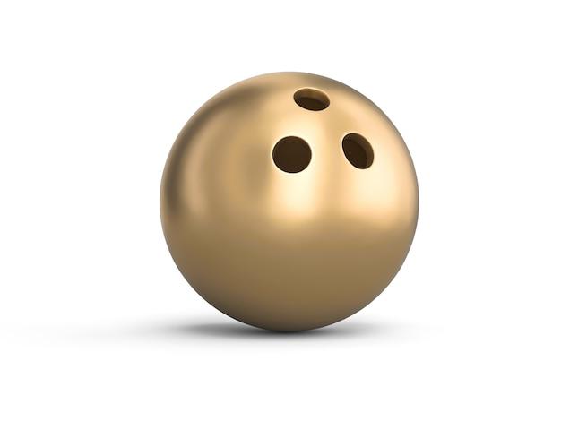 Bola de boliche dourada em branco