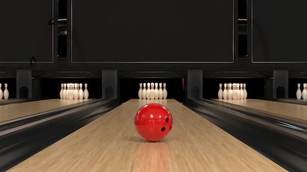 Bola de boliche vermelha em uma pista de madeira com pinos