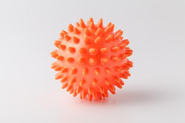 Bola de borracha para jogos com um cachorro isolado no fundo branco. bola de massagem