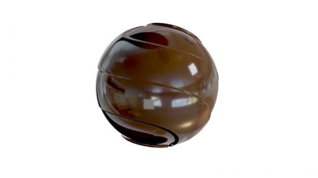 Bola de chocolate. inclui o traçado de recorte. ilustração 3d