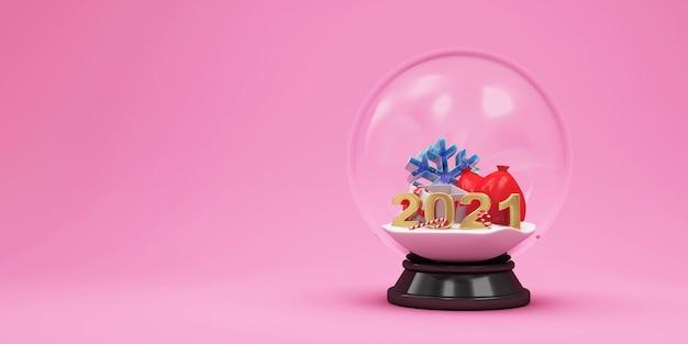 Bola de cristal com diferentes acessórios de natal