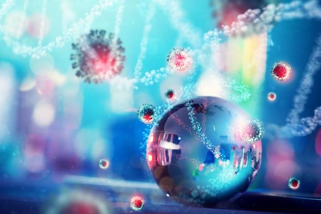 Bola de cristal refletindo células de coronavírus