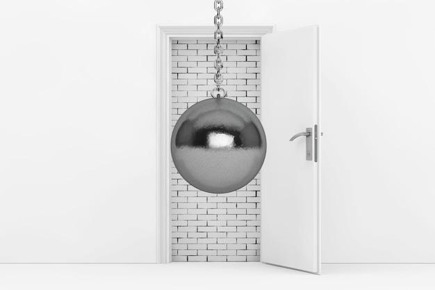 Bola de demolição pronta para destruir a parede de tijolos com porta branca bloqueada closeup extrema renderização em 3d