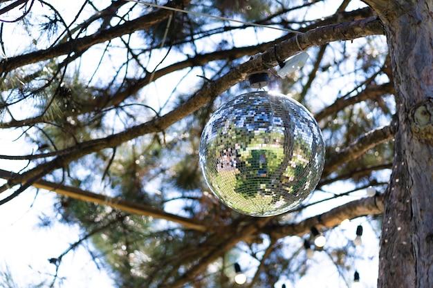 Bola de discoteca em uma árvore em um dia ensolarado