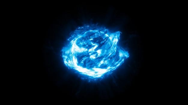 Bola de energia abstrata disparada com fogo e poder