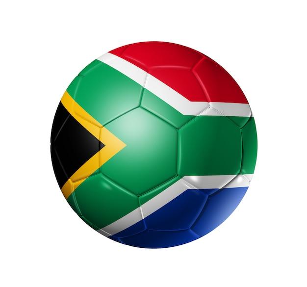 Bola de futebol 3d com a bandeira da áfrica do sul