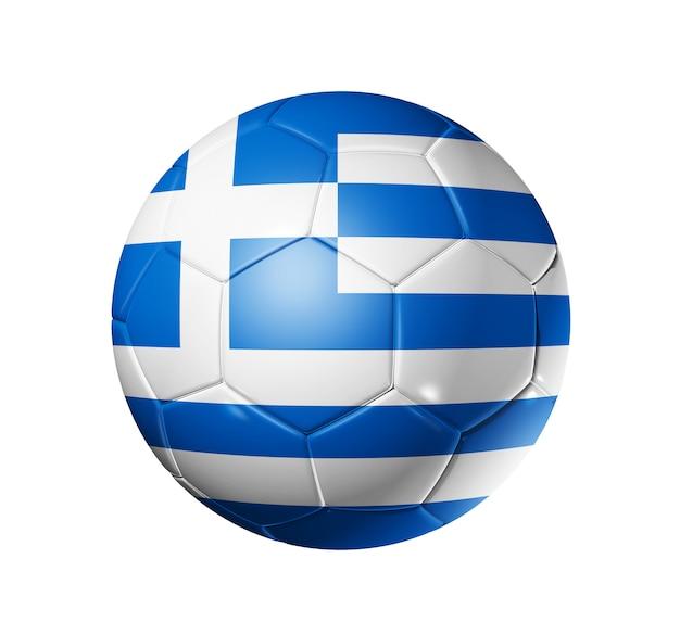 Bola de futebol 3d com a bandeira da equipe da grécia, mundo