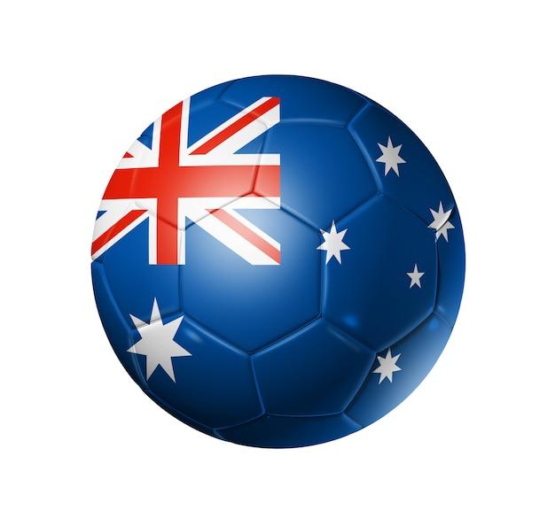 Bola de futebol 3d com a bandeira da equipe de austrália, copa do mundo de futebol