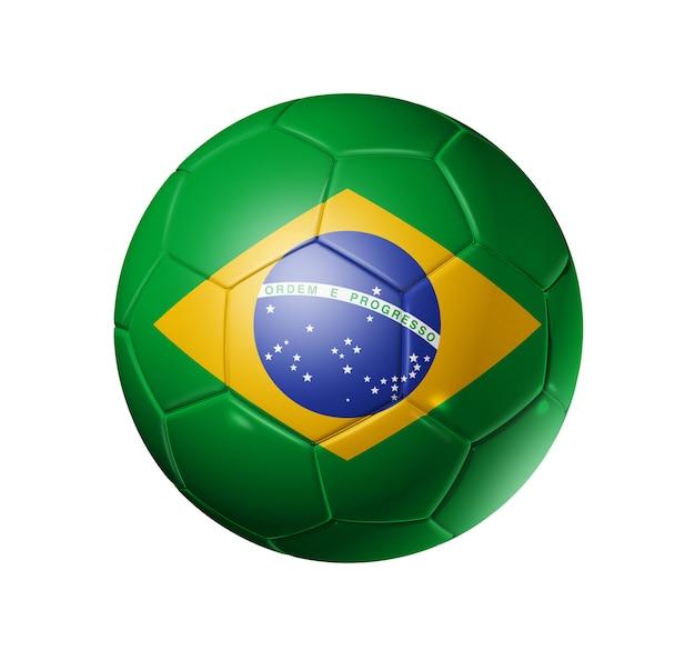Bola de futebol 3d com a bandeira do brasil, copa do mundo de futebol. isolado no branco, com trajeto de grampeamento