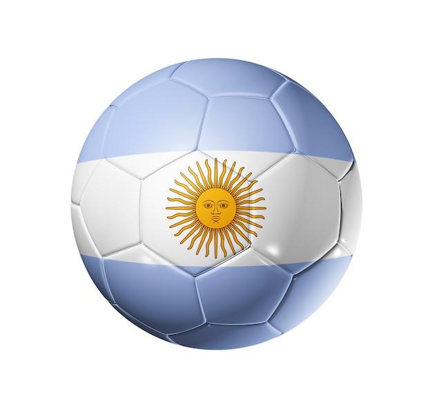 Bola de futebol 3d com bandeira da equipe argentina
