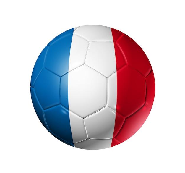 Bola de futebol 3d com bandeira da equipe de frança
