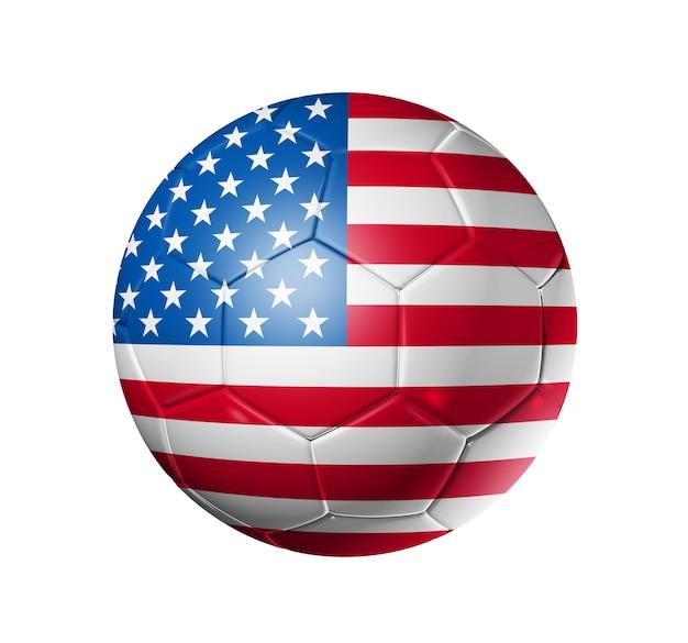 Bola de futebol 3d com bandeira da equipe dos eua