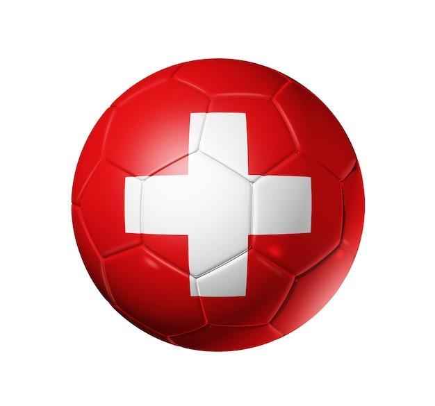 Bola de futebol 3d com bandeira da equipe suíça