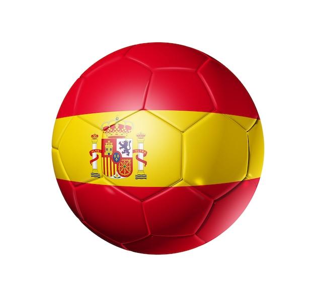 Bola de futebol 3d com bandeira de time de espanha