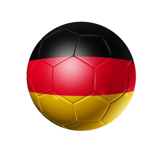 Bola de futebol 3d com bandeira do time da alemanha
