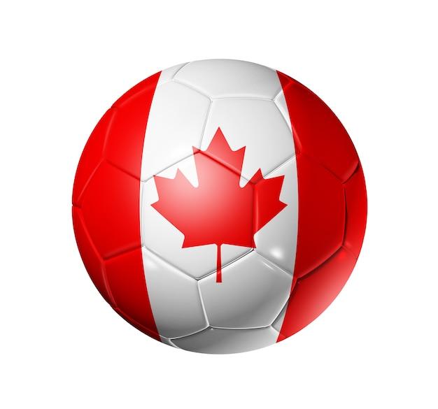Bola de futebol 3d com bandeira do time de canadá.
